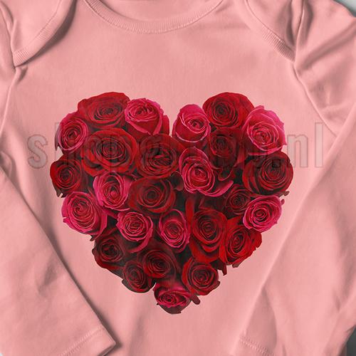 Strijkapplicatie hart van rozen